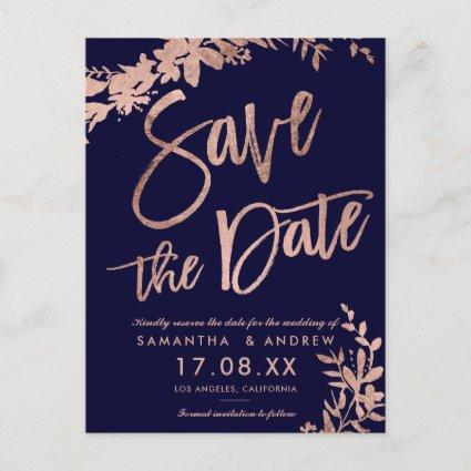Rose Gold typography floral navy save the date Announcement