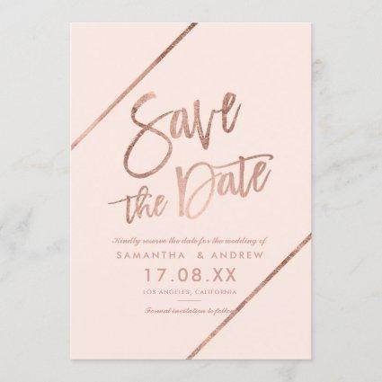 Rose gold typography stripes blush save the date