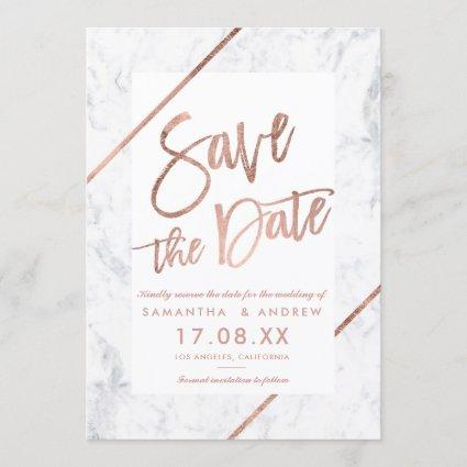 Rose gold typography stripes marble save the date