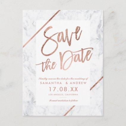 Rose gold typography stripes marble save the date announcement