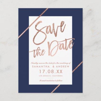 Rose gold typography stripes navy save the date announcement