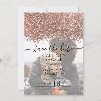 Rose Gold White Glitter Confetti Photo Wedding Save The Date