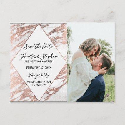 Rose Gold White Modern Marble Save the Date Announcement
