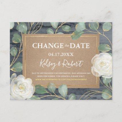 Rose Greenery Wood Rustic Wedding Change the Date Announcement