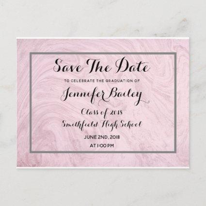 Rose Marble Graduation Party Save The Date Announcement
