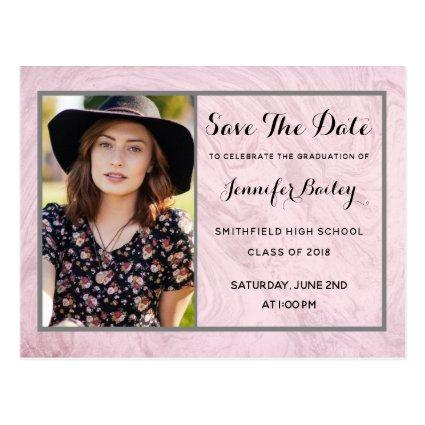 Rose Marble Graduation Photo Save The Date Cards