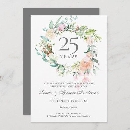 Roses Garland 25th Anniversary Save the Date Invitation