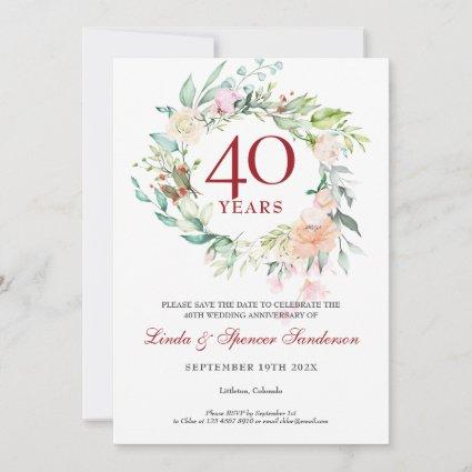 Roses Garland 40th Ruby Anniversary Save the Date