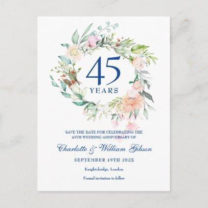 Roses Garland 45th 65th Anniversary Save the Date Announcement