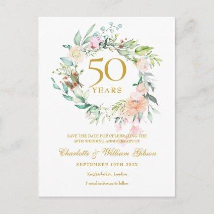Roses Garland 50th Anniversary Save the Date Announcement
