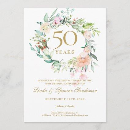 Roses Garland 50th Anniversary Save the Date Invitation