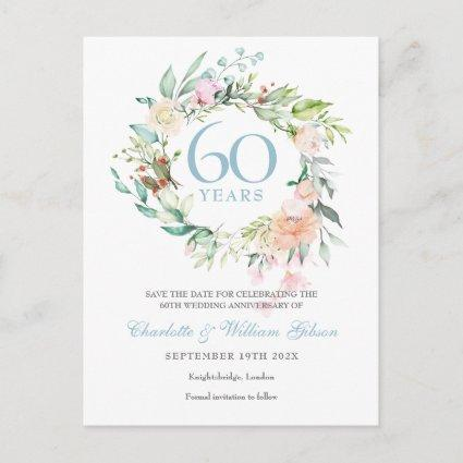 Roses Garland 60th Anniversary Save the Date Announcement