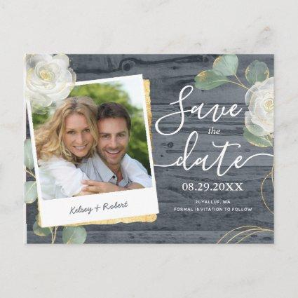 Roses Greenery Photo Rustic Wedding Save the Date Announcement
