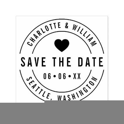 Round Bold Heart Save the Date Self-inking Stamp