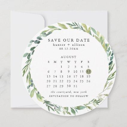 Round Calendar Save the Date Card