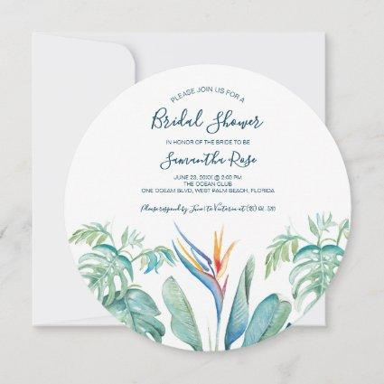 Round Tropical Watercolor Botanical Bridal Shower Save The Date