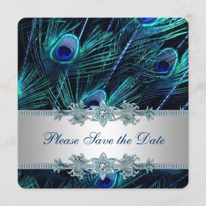 Royal Blue and Silver Peacock Save the Date