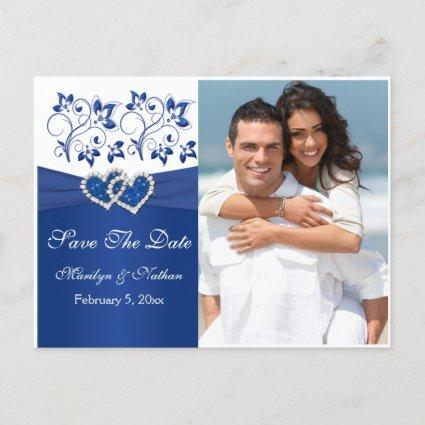 Royal Blue and White Save the Date Photo Cards