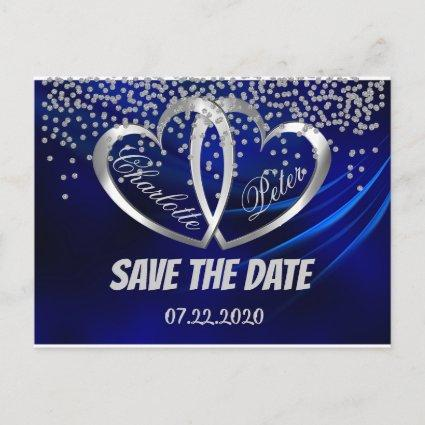 Royal Blue Diamonds & Hearts Save The Date Cards