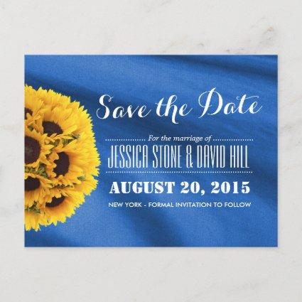 Royal Blue Fabric Sunflowers Save the Date Announcement