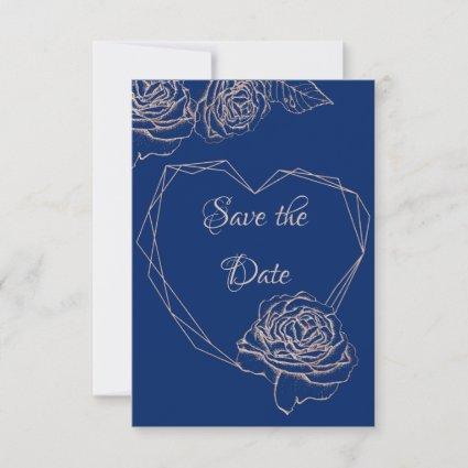 Royal Blue Floral Rose Gold Glitter Save The Date