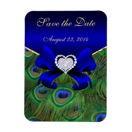 Royal Blue Peacock Save the Date Magnet