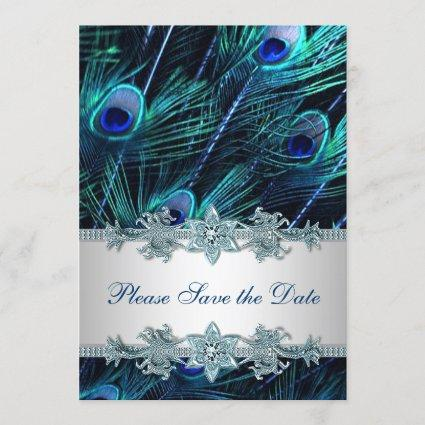 Royal Blue Peacock Wedding Save the Date