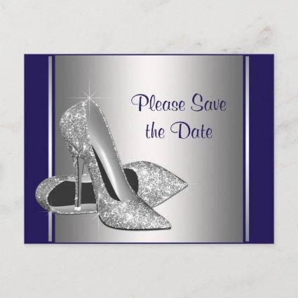 Royal Blue Silver High Heel Shoe Save The Date Announcement