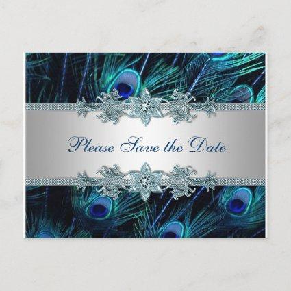 Royal Blue Silver Peacock Wedding Save the Date Announcement