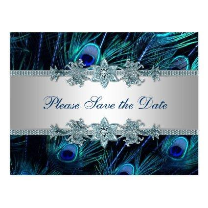 Royal Blue Silver Peacock Wedding