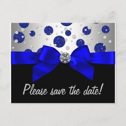 Royal Blue Silver Save The Date Announcements Cards