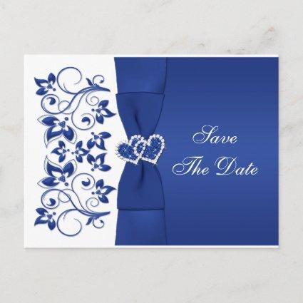 Royal Blue, White Floral Save The Date Post Card