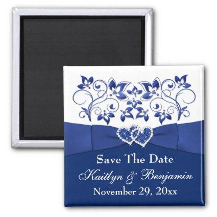 Royal Blue, White Floral Wedding Favor Magnet 2