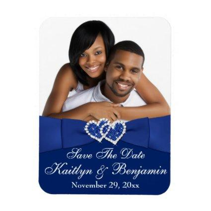 Royal Blue White Hearts Save the Date Magnets