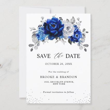 Royal Blue White Metallic Silver Floral  Save The Date