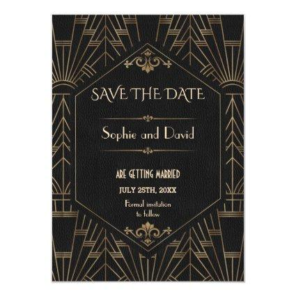Royal Gold Black Great Gatsby 1920s Save The Date Invitation