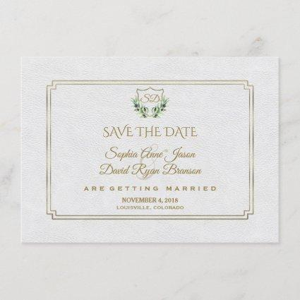 Royal Gold Crest Lush Greenery Save The Date