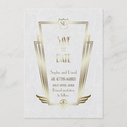 Royal Gold White Art Deco Monogram Save The Date