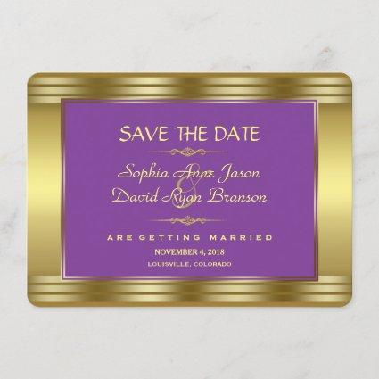 Royal Purple and Gold Wedding Save the Date