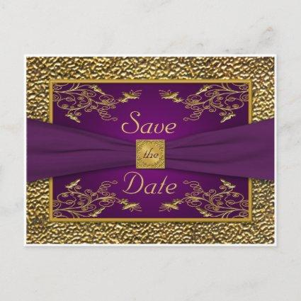Royal Purple, Gold Floral Save the Date Cards