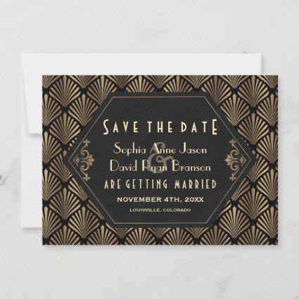 Royal Roaring 20's Gold Black Great Gatsby Wedding Save The Date