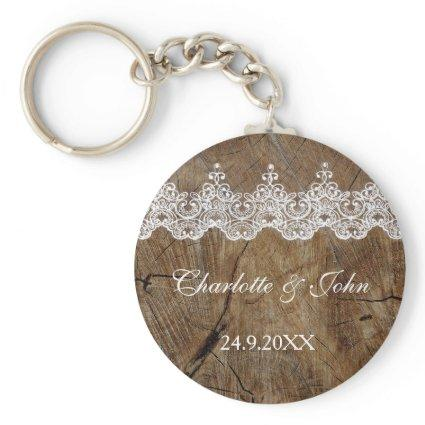 Royal Rustic Chic Save The Date Key Round Gift Keychain