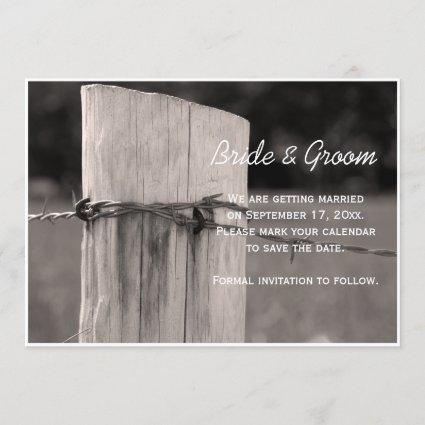 Rural Fence Post Country Wedding Save the Date