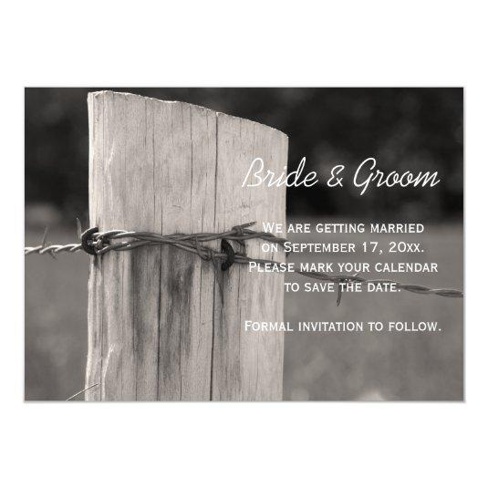 Rural Fence Post Country Wedding Save the Date 5x7 Paper Invitation Card