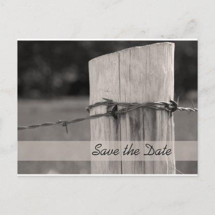Rural Fence Post Country Wedding Save the Date Announcement