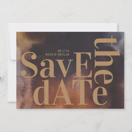 Rust Art Big Monogram Modern Bold Simple Wedding Save The Date