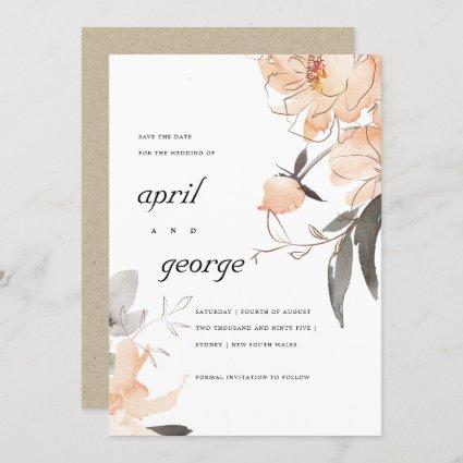 RUST BROWN ORANGE FLORAL SAVE THE DATE CARD