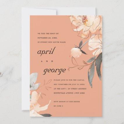 RUST ORANGE BROWN FLORAL WE TIED THE KNOT INVITE