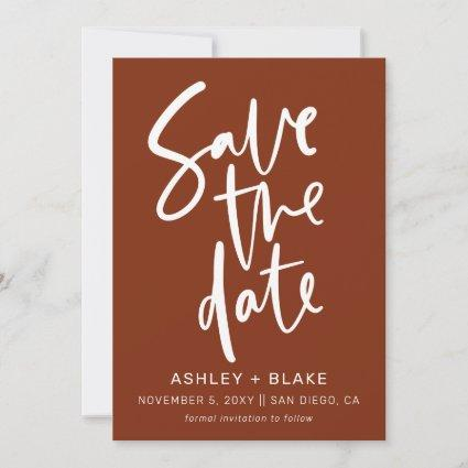 Rust Simple Handwritten Calligraphy Save the Date