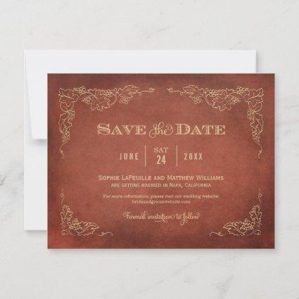 Rust Vintage Wine Design | Wedding Save The Date